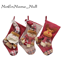 1pc Christmas Stockings Hand Making Crafts Children Candy Gift Bag Santa Bag Elk The Old Man Snowman Xmas Present For New Year(China)