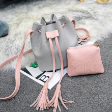 Casual Composite Bucket Bag Ladies Messenger Bags Tassel Handbags Drawstring Crossbody Shoulder Bag For Women Girls Purses Bolsa