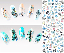 DS072 New Nail Design Water Transfer Nails Art Sticker Blue Colored Butterfly Nail Wraps Sticker Watermark Fingernails Decals