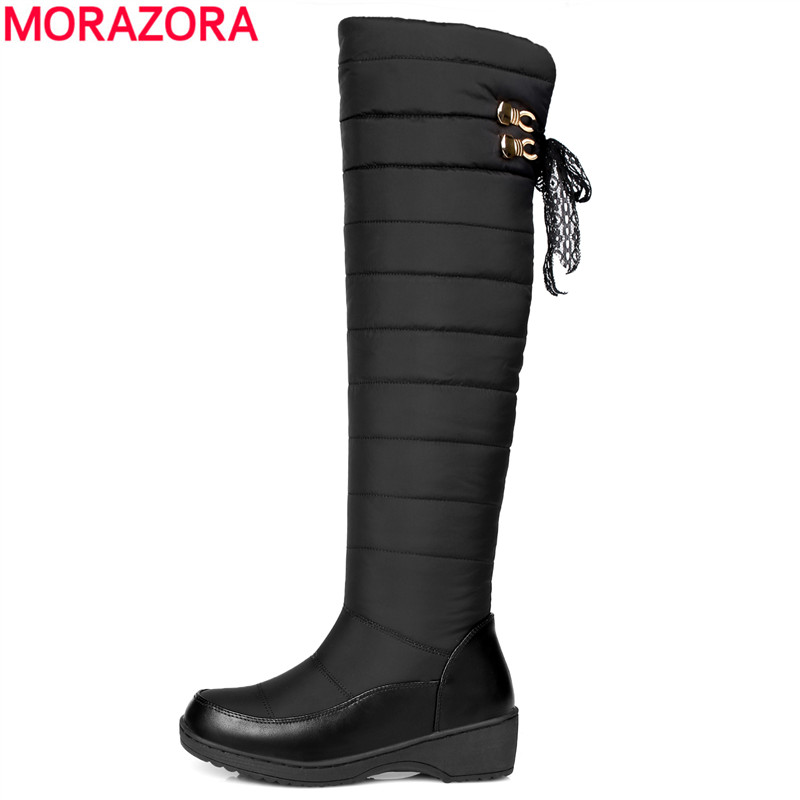 MORAZORA Plus size 35-44 winter russia keep warm women snow boots thick fur fashion platform down winter over the knee boots<br>