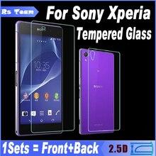 Передней и задней задней закаленное стекло для sony xperia z z1 z2 Z3 Z4 Z5 M4 M5 Компактный Mini Plus Экран Протектор Защитная Пленка