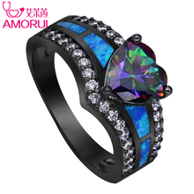 AMORUI Vintage Black Gold Color Rainbow Purple Green Blue CZ Stone Heart Wedding Rings for Women Fashion Opal Ring Jewelry Gift(China)