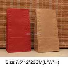 100PCS 7.5*12*23cm&6*9*18cm Kraft Brown Red without handle paper bag food packaging kraft Party gift paper party favor bag