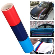 1.5m M Color Stripes Rally Side Hood Racing Motorsport Vinyl Decal Sticker Strip Bumper