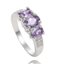 SHUANGR Fashion 1pc Purple Color Exquisite Cubic Zirconia Ring for Women Classic Design Finger Ring Size 7-9