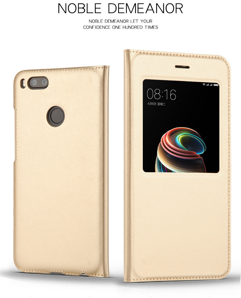 view quick answer open window leather flip case for xiaomi mi A1 mi 5x   02