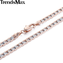 Trendsmax Customized 4mm Flat Hammered Cuban Silver Rose Gold Filled Necklace Mens Chain Womens Wholesale Jewelry Gift GN65