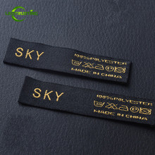 1000pcs Custom Logo Brand Woven Clothing Labels Customized Garment Shirt Jacket Baby Clothes Embroidered Labels with Cut