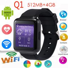 "E-MI  2016 New Q1 Smart Watch MTK6580 Android 5.1 OS 1.54"" Display WiFi GPS 3G Bluetooth Sim mp3 Smartwatch phone"