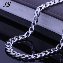 JS 6mm Wide Silver Cut Flat Curb Cuban Chain Men 2016 Trendy Titanium Rope Chain Necklace RN009