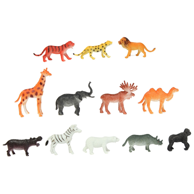 Plastic Zoo Animal Figure 12PCS/set Tiger Leopard Hippo Giraffe Kids Toy Lovely Animal Toys Set Gift For Kids(China (Mainland))