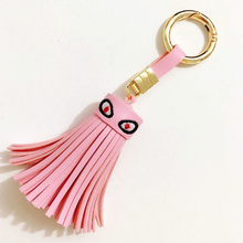 2017 Luxury Little Monster Evil Eye Leather Tassel Keychain Car Key Chain Ring Charm Women Bag Mobile Phone Accessories Pendant
