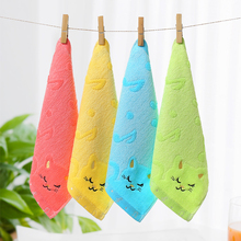 Hot Nursery Hand Towel 25*25cm Bamboo Fiber Solid Color Non-twist Towels with Cats Patterns Style Towels