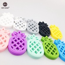 Let's Make Baby Ananas Nursing Accessories 10pc Silicone Pineapple Materials Diy Crafts Silicone Teether Baby Diy Pendant(China)