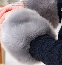 Thick Womens Winter Warm Wrist Arms Rabbit Faux Fur Bracelet Cuff Wristband Oversleeve Arm Warmmer 5pairs/lot Free Shipping(China)