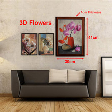 Wooden Frame 3D Flower vase Wall Painting Art Hang Painting Vintage Home Decor Wall Pictures for Living Room  BedRoom 31x41cm