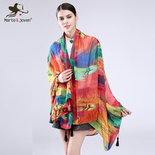 [Marte&Joven] Bohemia Style Colourful Rainbow Feather Scarves Magnificent Bandana Stylish Long Summer Pashmina Shawls For Woman