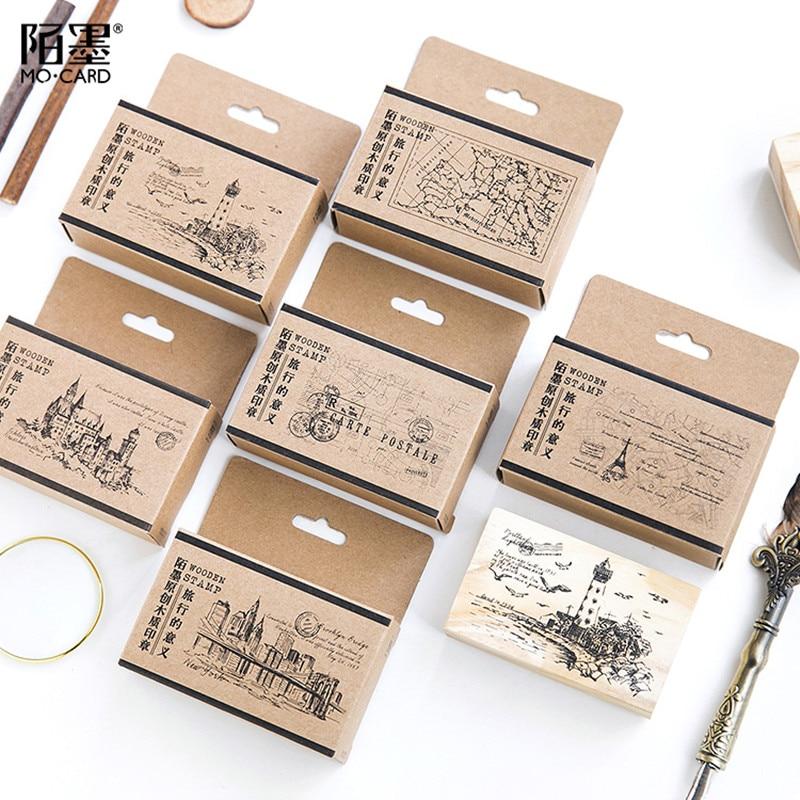 12 PCS Diary Stamp Set Wooden Cute Cartoon Stamp Seal for DIY Craft Card
