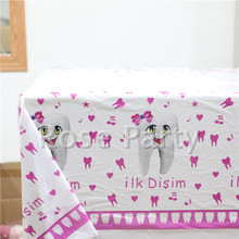 108*180cm Baby shower Decoration Plastic Table cloth Teeth Pink Theme Map Birthday Tablecloth Kids Favors Party Table Cover