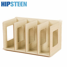 HIPSTEEN Books Storage Holders Creative Wooden DIY Desktop Book CD Storage Sorting Bookends Office Carrying Shelves(China)