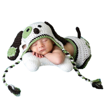 2pcs Baby Photo Props Newborn Baby Girls Boys Photo Photography Prop Baby Crochet Knit Briefs Prop Outfits+Cute Dog Hat(China)