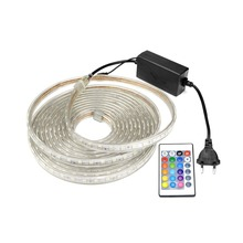 AC 220V Silicone Tube Waterproof LED Strip Light 5050 Neon RGB LED String Lamp Outdoor Tape Home Decoration 24key Controller DIY