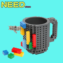 10 Colors Creative DIY Drinkware Building Blocks Lego Mugs Block Puzzle Mug 12oz Build-On Brick Creative Mug Type Coffee Cups(China)