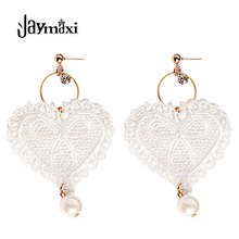 jaymaxi Lace Earrings Women Imitation Pearl Pendant Individual Heart Shaped Tassel White Color Long Earrings Girl's Gift E515313