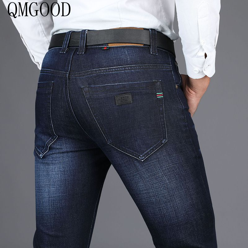 QMGOOD QMGOOD 28-40 Big Size Brand Men Jeans Stretch Fashion Denim Business Slim Fit Jeans Casual Denim Trousers Autumn WinterÎäåæäà è àêñåññóàðû<br><br>