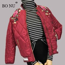 BO NU Wine Red Parka Winter Bomber Jacket Women Warm Winter Female Embroidery Jacket Slim Coat Loosen Jacket Women BF Fur Coat(China)