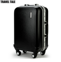 TRAVEL TALE Aluminum frame trolley travel luggage hard side cabine luggage abs men suitcase solid color(China)