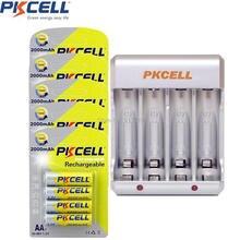 20Pcs/5Card 2000mAh AA Rechargeable NIMH Battery 4slot EU/US Plug Charger 2or4pcs AA/AAA NIMH/NICD Rechargeable Batteria