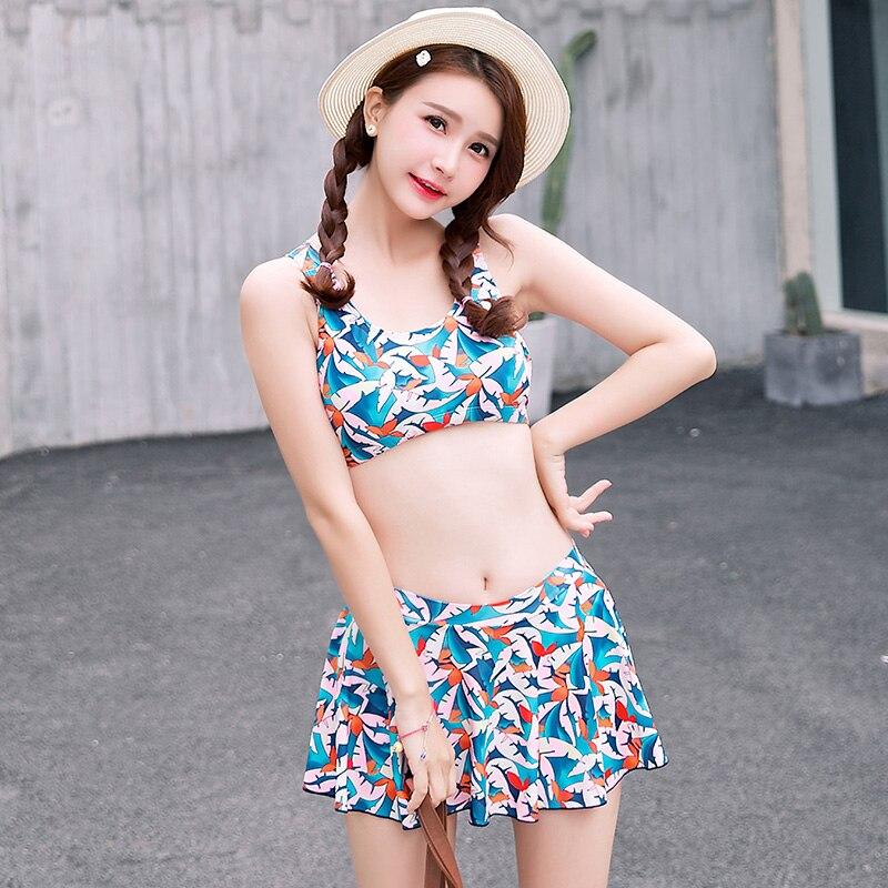 Three-Pieces Harness Bikinis Print Pattern Swimming Suit for Women Mid Waist Swimwear Trajes de Bano Sexy Biquini Bikini Set<br>