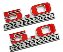 Car styling 3D Metal Red 5.0 High Performance car Sticker Rear Boot Truck Lid Emblem Badge Sticker For Ford Mustang 5.0 Liter(China)