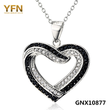 GNX10877 Genuine 925 Sterling Silver Heart Necklace Fashion Jewelry Black White Cubic Zirconia Necklace & Pendant For Women