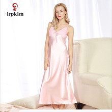 M-XL Women Long Satin Nightgown Night Dress Lace Patchwork Trim Bifurcated Hem Sexy Sleeping Dress Night Gown Camisones SY05(China)