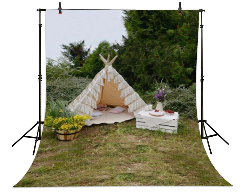 Tent Camping Childhood Nature Flowers Backgrounds High-grade Vinyl cloth Computer printed newborns backdrop<br><br>Aliexpress