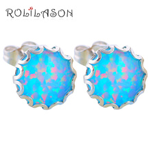 Modern design Round earrings style Deep Green Fire Opal Silver Stamped top quality Fashion Jewelry Stud Earrings OE423