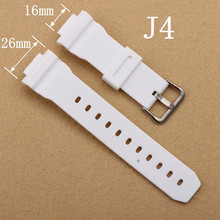 16mm White Watchband Silicone Rubber Bands For Watches EF Replace Electronic Wristwatch Band Sports Watch Straps 16 MM