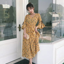 Buy Bohemian Women's Floral Printed Long Dress 2017 Summer Korean Style Female Flare Sleeve Beach Dresses Ladies Pleated Sexy Dress for $17.64 in AliExpress store