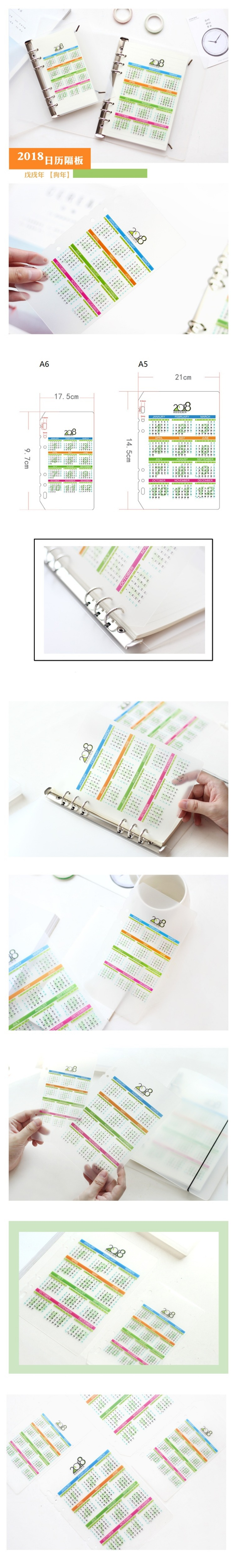 4d90d38119e5 2018 A5A6 Calendar Spacer Plate Diario Binder Planner s Separator Board  Office School Supplies Spiral Notebook s Index Page - us320