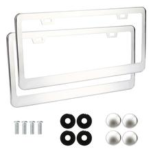 Car-styling 2 Pieces Stainless Steel Metal License Plate Frames Tag Cover Screw Caps Silver 711 Levert Dropship(China)