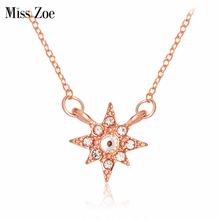 Miss Zoe Crystal Cut Raw Starburst Hexagram Star Necklace Rhinestone Pendant Necklace Rose Gold Simple Jewelry Gift for Women