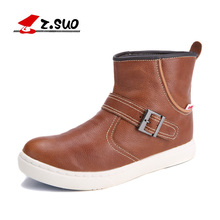 Z. Suo 819 Autumn Fashion Comfortable Cowhide Medium Top Boots High Top Classic Buckle Genuine Leather Western Cowboy Boots