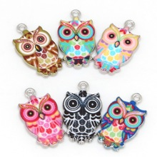 Fashion Charm 2-6pcs/Lot 13x23mm Necklace Pendant Rhodium Plated Owl Enamel Charm Party Decorations Hole Size 1.5mm(China)