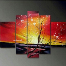 Hand-painted Modern Landscape Red Oil Painting Match No Framework 5pcs/set Flower Picture For Living Room Abstract Wall Art