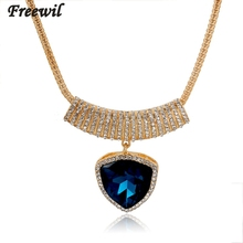 LOW ethnic blue gems crystal pendants necklaces & pendants  vintage gold filled chain necklace for women collier SNE150841