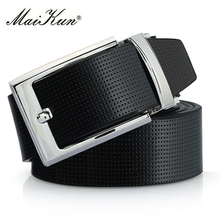 Cowskin Leather Pin Buckle Belts for Men High Quality Male Strap Fashion Silvery Reversible Buckle Men's Belt(China)