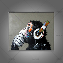 100% hand painted Cartoon Oil Painting High Quality Abstract Animal Wall Art for Home Decor Gorilla Frog Pictures Christmas Gift(China)