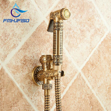 Wholesale And Retail Antique Brass Bathroom Bidet Faucet Flower Carved Toilet Clearing Hand Shower Mop Faucet Tap Solid Brass(China)